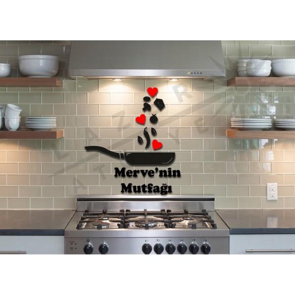Dekoratif Ahşap Tava Mutfak Süsü Siyah Kırmızı Renkli